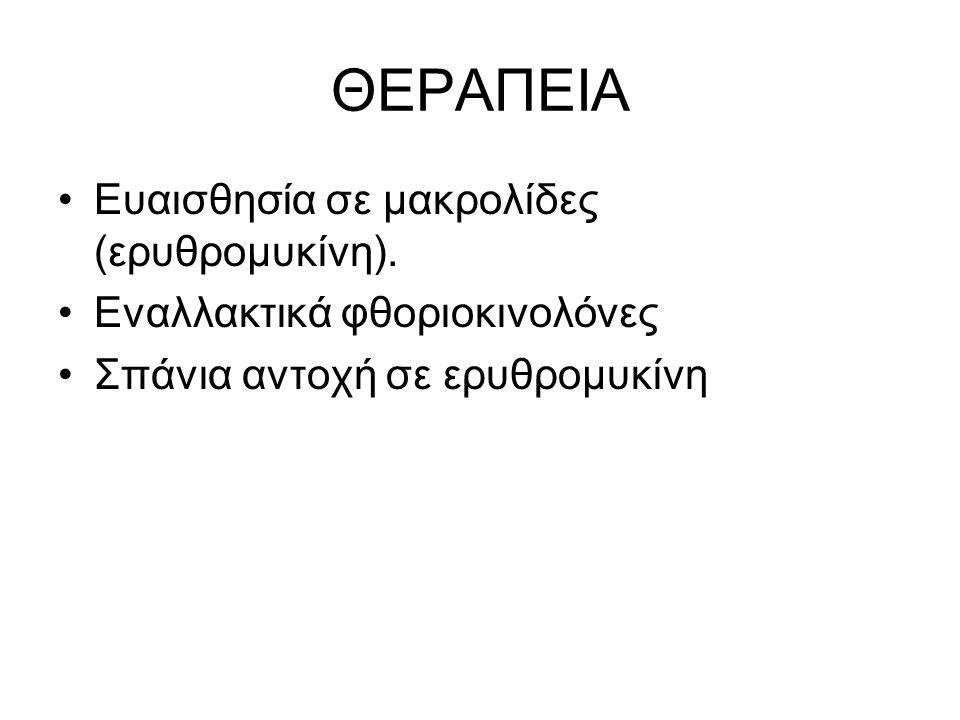 ΘΕΡΑΠΕΙΑ •Ευαισθησία σε μακρολίδες (ερυθρομυκίνη). •Εναλλακτικά φθοριοκινολόνες •Σπάνια αντοχή σε ερυθρομυκίνη