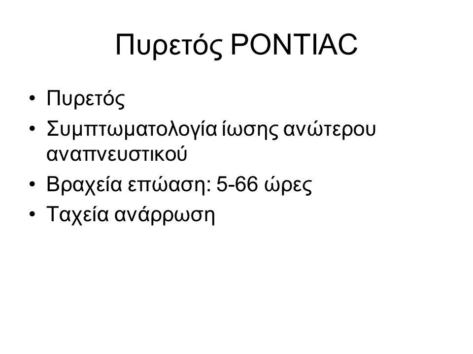 Πυρετός PONTIAC •Πυρετός •Συμπτωματολογία ίωσης ανώτερου αναπνευστικού •Βραχεία επώαση: 5-66 ώρες •Ταχεία ανάρρωση