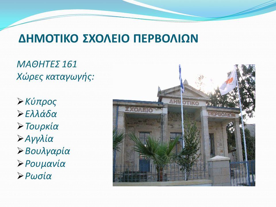 ΔΗΜΟΤΙΚΟ ΣΧΟΛΕΙΟ ΠΕΡΒΟΛΙΩΝ ΜΑΘΗΤΕΣ 161 Χώρες καταγωγής:  Κύπρος  Ελλάδα  Τουρκία  Αγγλία  Βουλγαρία  Ρουμανία  Ρωσία