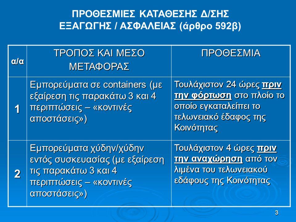 3 ΠΡΟΘΕΣΜΙΕΣ ΚΑΤΑΘΕΣΗΣ Δ/ΣΗΣ ΕΞΑΓΩΓΗΣ / ΑΣΦΑΛΕΙΑΣ (άρθρο 592β) α/α ΤΡΟΠΟΣ ΚΑΙ ΜΕΣΟ ΜΕΤΑΦΟΡΑΣ ΠΡΟΘΕΣΜΙΑ 1 Εμπορεύματα σε containers (με εξαίρεση τις πα