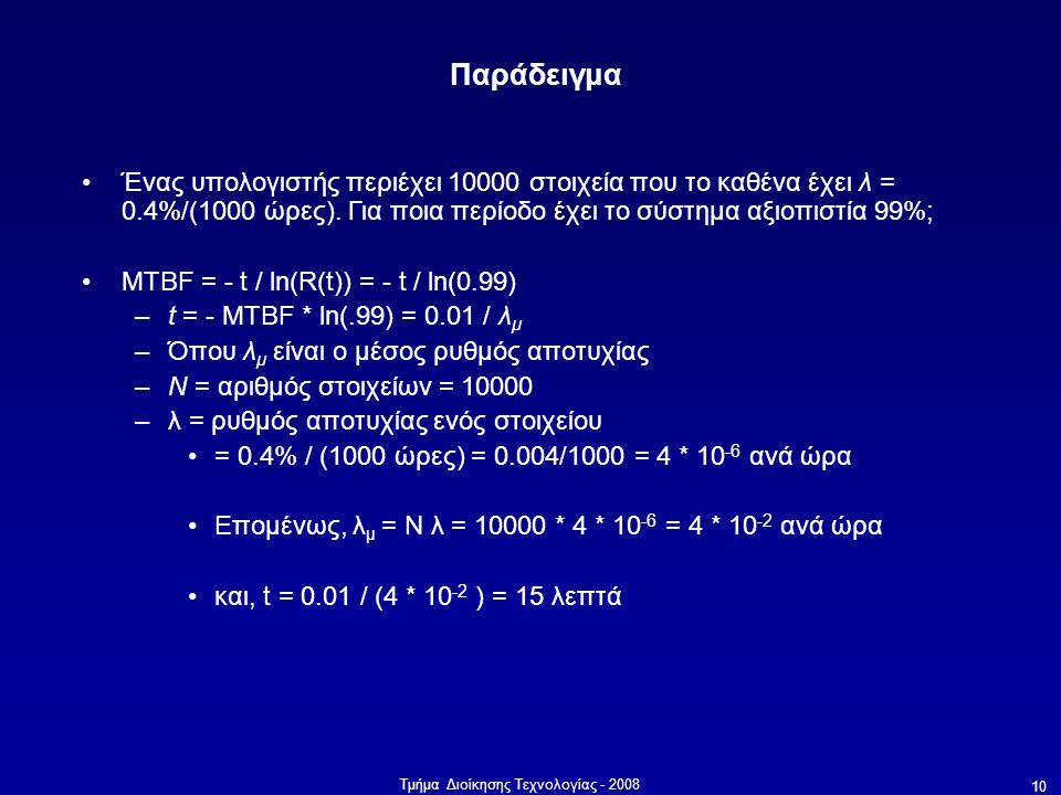 Τμήμα Διοίκησης Τεχνολογίας - 2008 10 Παράδειγμα •Ένας υπολογιστής περιέχει 10000 στοιχεία που το καθένα έχει λ = 0.4%/(1000 ώρες). Για ποια περίοδο έ