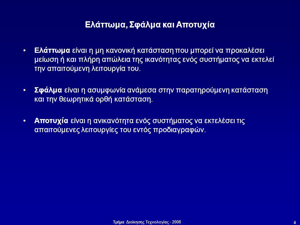 Τμήμα Διοίκησης Τεχνολογίας - 2008 4 Ελάττωμα, Σφάλμα και Αποτυχία •Ελάττωμα είναι η μη κανονική κατάσταση που μπορεί να προκαλέσει μείωση ή και πλήρη