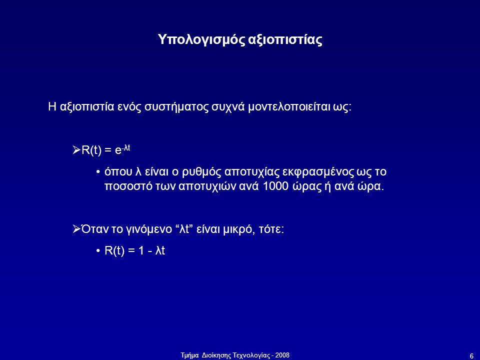 Τμήμα Διοίκησης Τεχνολογίας - 2008 6 Υπολογισμός αξιοπιστίας Η αξιοπιστία ενός συστήματος συχνά μοντελοποιείται ως:  R(t) = e -λt •όπου λ είναι ο ρυθ