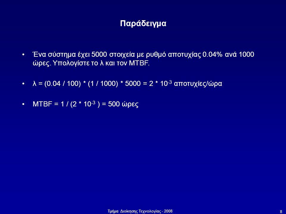 Τμήμα Διοίκησης Τεχνολογίας - 2008 8 Παράδειγμα •Ένα σύστημα έχει 5000 στοιχεία με ρυθμό αποτυχίας 0.04% ανά 1000 ώρες. Υπολογίστε το λ και τον MTBF.