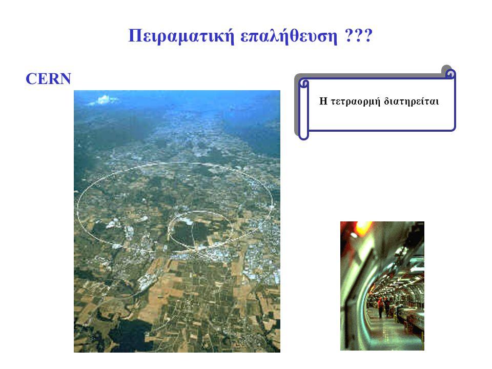 Πειραματική επαλήθευση ??? Η τετραορμή διατηρείται CERN