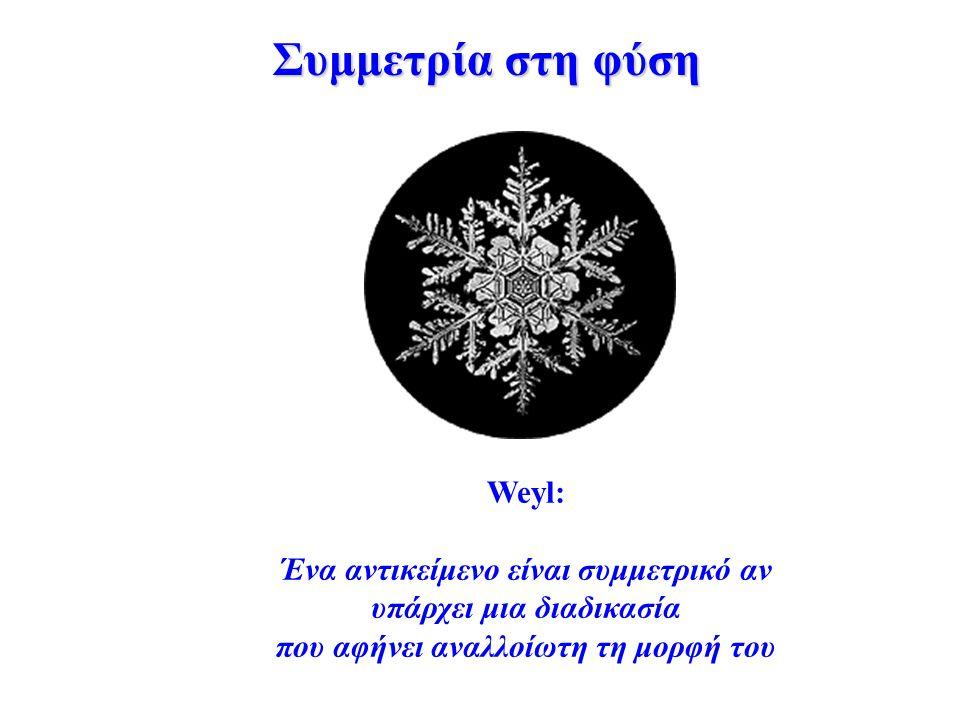 Weyl: Ένα αντικείμενο είναι συμμετρικό αν υπάρχει μια διαδικασία που αφήνει αναλλοίωτη τη μορφή του Συμμετρία στη φύση