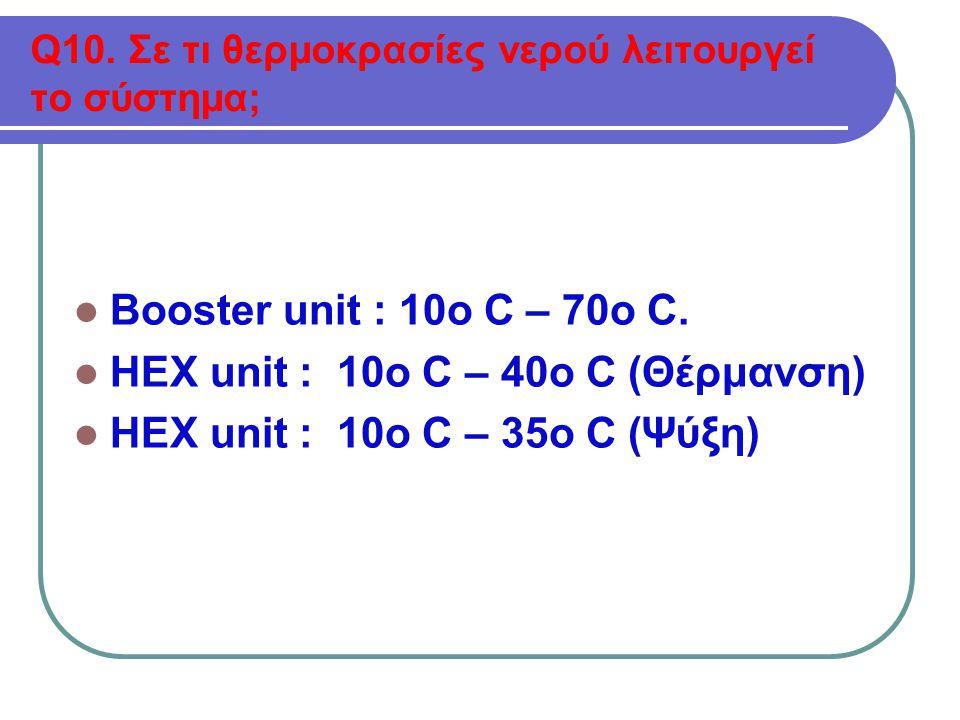 Q10.Σε τι θερμοκρασίες νερού λειτουργεί το σύστημα;  Booster unit : 10o C – 70o C.