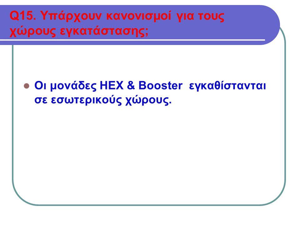 Q15. Υπάρχουν κανονισμοί για τους χώρους εγκατάστασης;  Οι μονάδες HEX & Booster εγκαθίστανται σε εσωτερικούς χώρους.