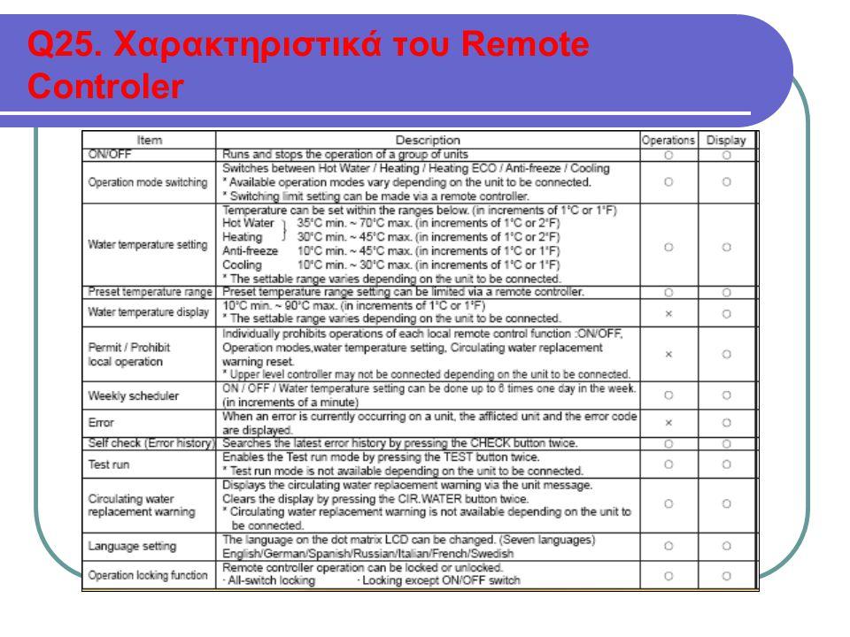 Q25. Χαρακτηριστικά του Remote Controler