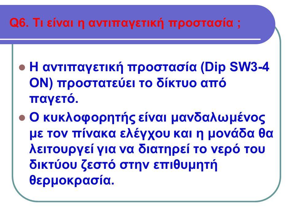 Q6. Τι είναι η αντιπαγετική προστασία ;  Η αντιπαγετική προστασία (Dip SW3-4 ON) προστατεύει το δίκτυο από παγετό.  Ο κυκλοφορητής είναι μανδαλωμένο