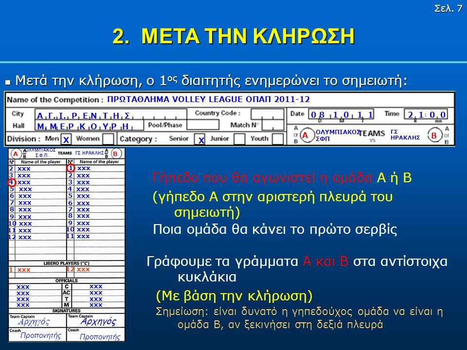 Σελ. 6 1. ΠΡΙΝ ΤΟΝ ΑΓΩΝΑ 3 13 13 : Ονοματεπώνυμα διαιτητών, σημειωτή, βοηθού σημειωτή με κωδικούς χωρών (αν χρειάζεται). ΓΣ ΗΡΑΚΛΗΣ ΟΛΥΜΠΙΑΚΟΣ ΣΦΠ 14