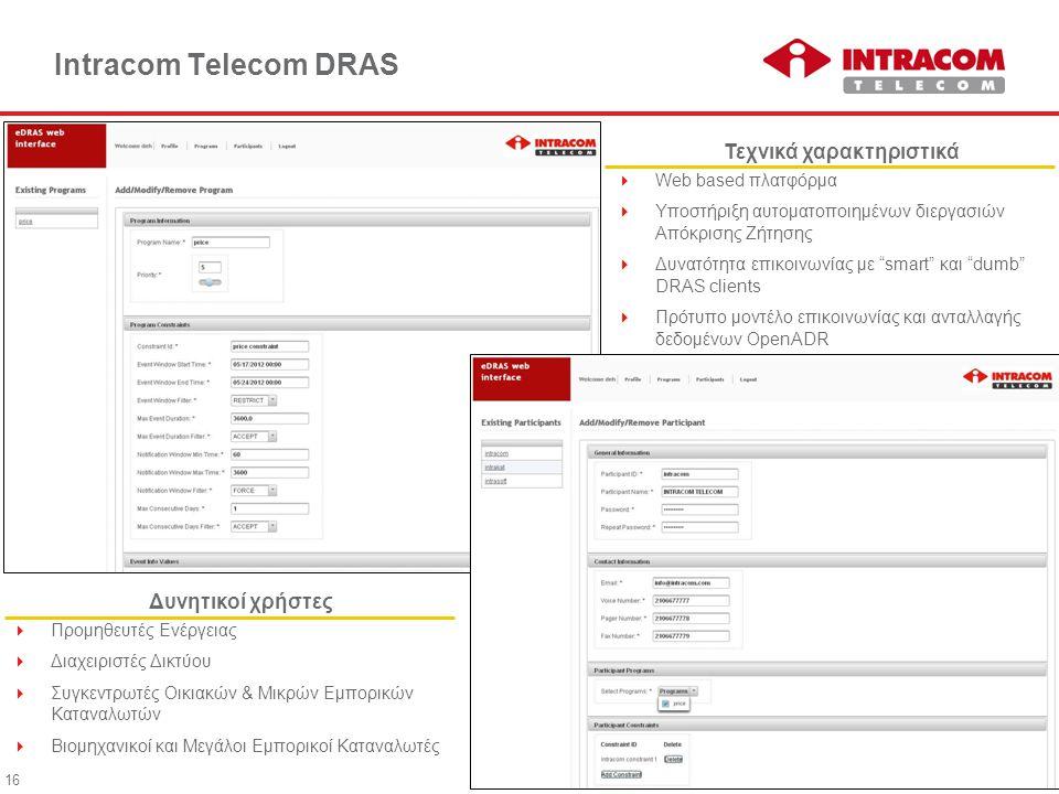 16 Intracom Telecom DRAS  Web based πλατφόρμα  Υποστήριξη αυτοματοποιημένων διεργασιών Απόκρισης Ζήτησης  Δυνατότητα επικοινωνίας με smart και dumb DRAS clients  Πρότυπο μοντέλο επικοινωνίας και ανταλλαγής δεδομένων OpenADR Τεχνικά χαρακτηριστικά  Προμηθευτές Ενέργειας  Διαχειριστές Δικτύου  Συγκεντρωτές Οικιακών & Μικρών Εμπορικών Καταναλωτών  Βιομηχανικοί και Μεγάλοι Εμπορικοί Καταναλωτές Δυνητικοί χρήστες