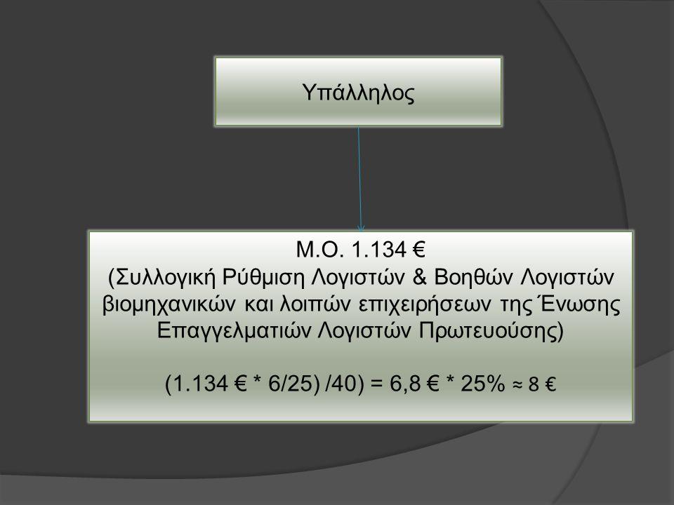 Υπάλληλος Μ.Ο. 1.134 € (Συλλογική Ρύθμιση Λογιστών & Βοηθών Λογιστών βιομηχανικών και λοιπών επιχειρήσεων της Ένωσης Επαγγελματιών Λογιστών Πρωτευούση