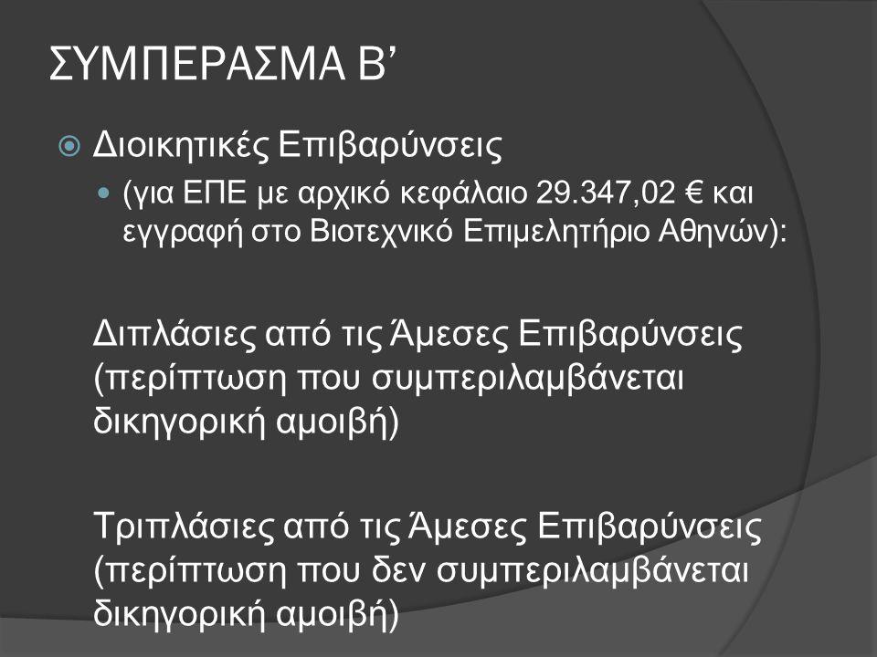 ΣΥΜΠΕΡΑΣΜΑ Β'  Διοικητικές Επιβαρύνσεις  (για ΕΠΕ με αρχικό κεφάλαιο 29.347,02 € και εγγραφή στο Βιοτεχνικό Επιμελητήριο Αθηνών): Διπλάσιες από τις