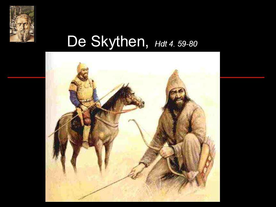 De Scythen Volk in Centraal Azië Leefden van akkerbouw en veeteelt Gebruikten paarden voor de strijd Scythische ruiters met hun pijlen en bogen waren beroemd als krijgers
