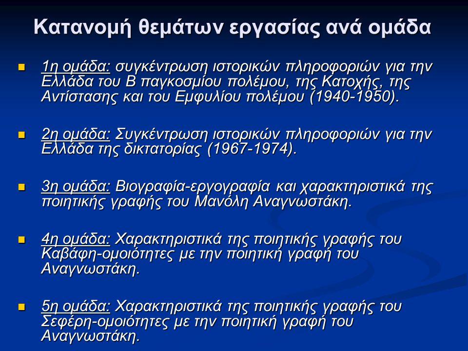 Κατανομή θεμάτων εργασίας ανά ομάδα  1η ομάδα: συγκέντρωση ιστορικών πληροφοριών για την Ελλάδα του Β παγκοσμίου πολέμου, της Κατοχής, της Αντίστασης και του Εμφυλίου πολέμου (1940-1950).