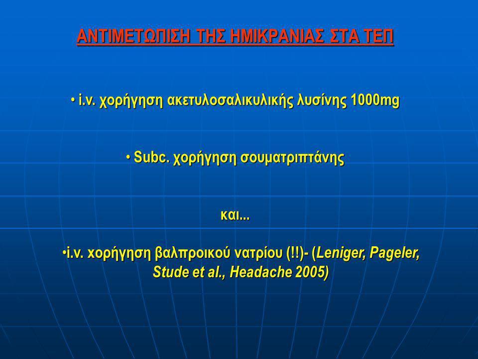 ΑΝΤΙΜΕΤΩΠΙΣΗ ΤΗΣ ΗΜΙΚΡΑΝΙΑΣ ΣΤΑ ΤΕΠ • i.v. χορήγηση ακετυλοσαλικυλικής λυσίνης 1000mg • Subc. χορήγηση σουματριπτάνης και... • i.v. xορήγηση βαλπροικο