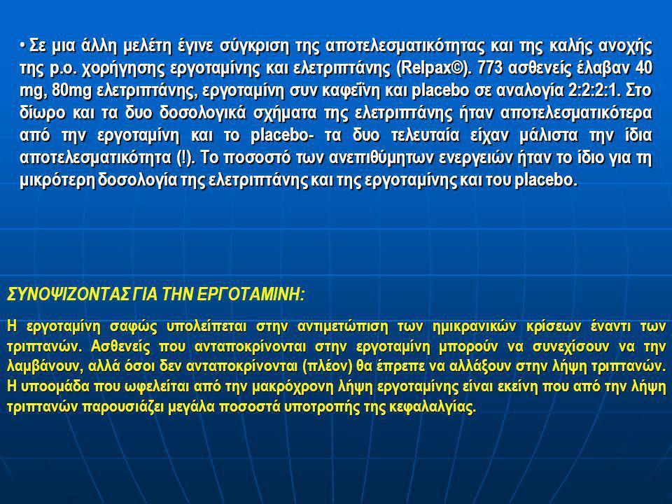• Σε μια άλλη μελέτη έγινε σύγκριση της αποτελεσματικότητας και της καλής ανοχής της p.o. χορήγησης εργοταμίνης και ελετριπτάνης (Relpax©). 773 ασθενε