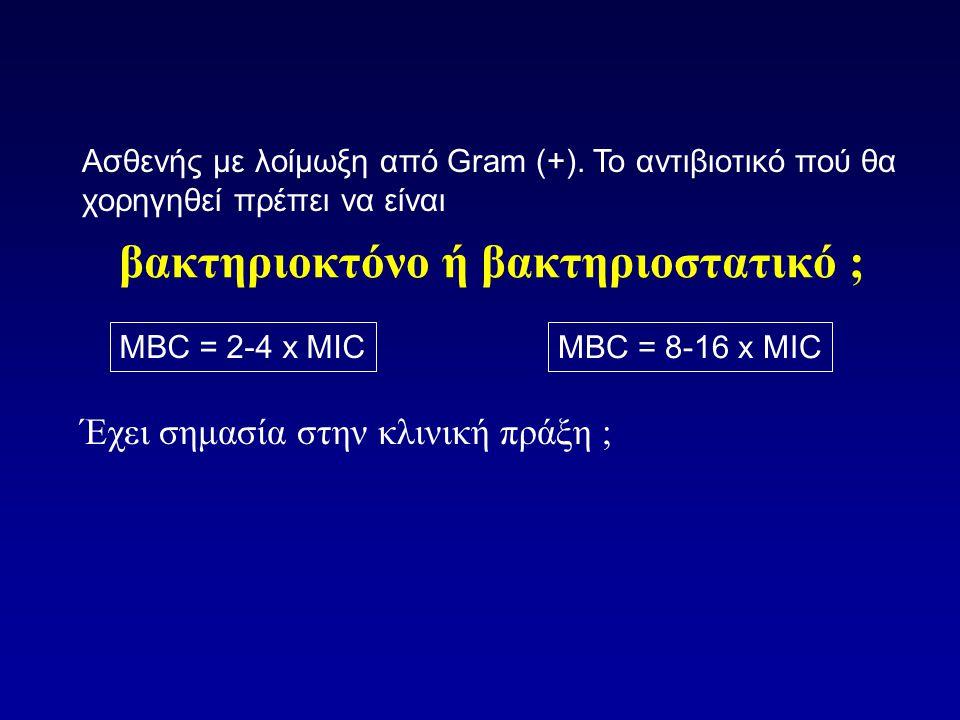 βακτηριοκτόνο ή βακτηριοστατικό ; Έχει σημασία στην κλινική πράξη ; Ασθενής με λοίμωξη από Gram (+). Το αντιβιοτικό πού θα χορηγηθεί πρέπει να είναι M