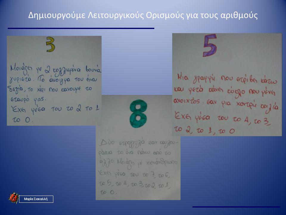 Δημιουργούμε Λειτουργικούς Ορισμούς για τους αριθμούς Μαρία Σιακαλλή