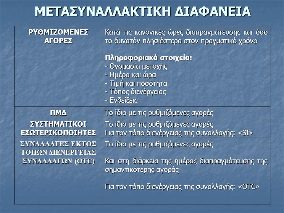 ΕΞΑΙΡΕΣΕΙΣ-ΑΝΑΒΟΛΗΡΥΘΜΙΖΟΜΕΝΕΣΑΓΟΡΕΣ Προσυναλλακτική διαφάνεια: 1.
