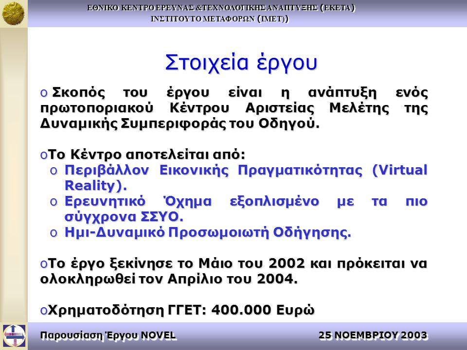 ΕΘΝΙΚΟ ΚΕΝΤΡΟ ΕΡΕΥΝΑΣ &ΤΕΧΝΟΛΟΓΙΚΗΣ ΑΝΑΠΤΥΞΗΣ ( ΕΚΕΤΑ ) ΙΝΣΤΙΤΟΥΤΟ ΜΕΤΑΦΟΡΩΝ ( ΙΜΕΤ) ) ΕΘΝΙΚΟ ΚΕΝΤΡΟ ΕΡΕΥΝΑΣ &ΤΕΧΝΟΛΟΓΙΚΗΣ ΑΝΑΠΤΥΞΗΣ ( ΕΚΕΤΑ ) ΙΝΣΤΙΤΟΥΤΟ ΜΕΤΑΦΟΡΩΝ ( ΙΜΕΤ) ) Παρουσίαση Έργου NOVEL 25 ΝΟΕΜΒΡΙΟΥ 2003 Στοιχεία έργου o Σκοπός του έργου είναι η ανάπτυξη ενός πρωτοποριακού Κέντρου Αριστείας Μελέτης της Δυναμικής Συμπεριφοράς του Οδηγού.