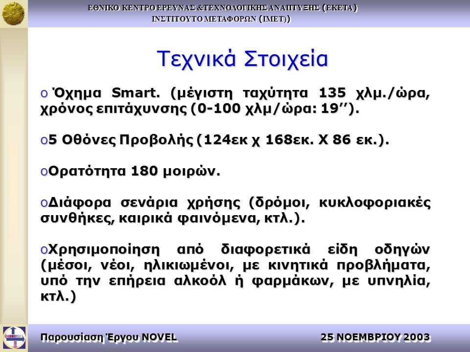 ΕΘΝΙΚΟ ΚΕΝΤΡΟ ΕΡΕΥΝΑΣ &ΤΕΧΝΟΛΟΓΙΚΗΣ ΑΝΑΠΤΥΞΗΣ ( ΕΚΕΤΑ ) ΙΝΣΤΙΤΟΥΤΟ ΜΕΤΑΦΟΡΩΝ ( ΙΜΕΤ) ) ΕΘΝΙΚΟ ΚΕΝΤΡΟ ΕΡΕΥΝΑΣ &ΤΕΧΝΟΛΟΓΙΚΗΣ ΑΝΑΠΤΥΞΗΣ ( ΕΚΕΤΑ ) ΙΝΣΤΙΤΟΥΤΟ ΜΕΤΑΦΟΡΩΝ ( ΙΜΕΤ) ) Παρουσίαση Έργου NOVEL 25 ΝΟΕΜΒΡΙΟΥ 2003 Τεχνικά Στοιχεία o Όχημα Smart.