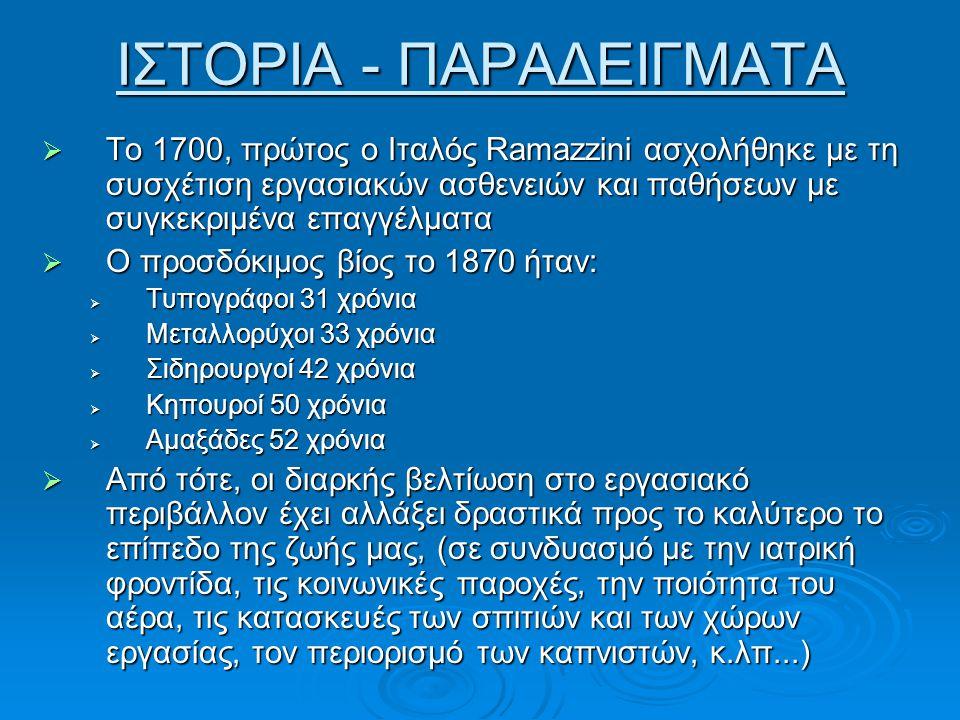 ΙΣΤΟΡΙΑ - ΠΑΡΑΔΕΙΓΜΑΤΑ  Το 1700, πρώτος ο Ιταλός Ramazzini ασχολήθηκε με τη συσχέτιση εργασιακών ασθενειών και παθήσεων με συγκεκριμένα επαγγέλματα 