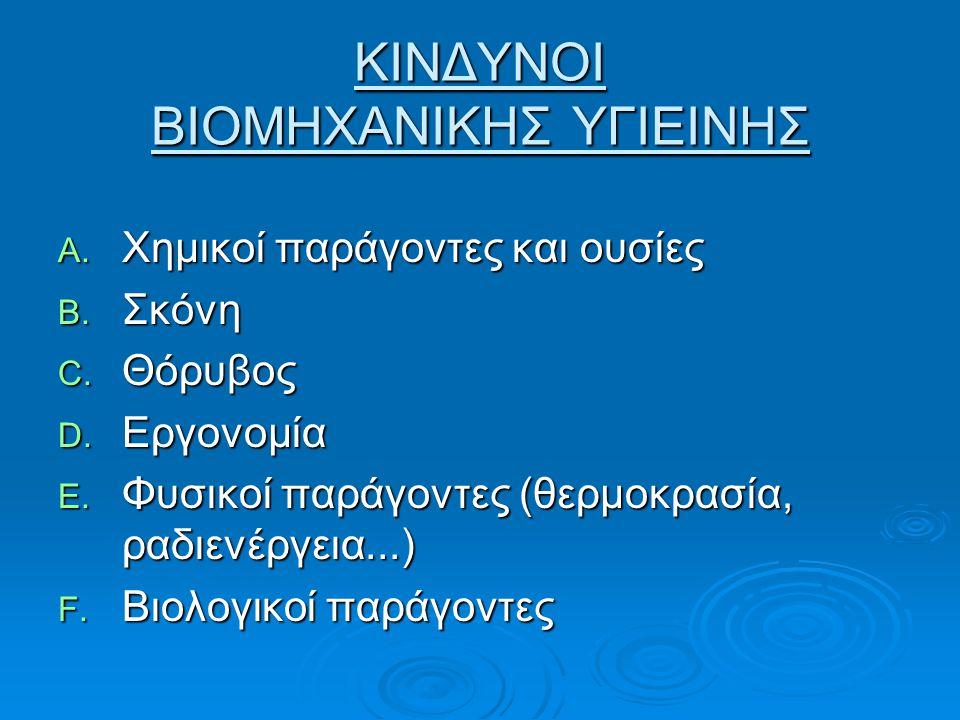 ΚΙΝΔΥΝΟΙ ΒΙΟΜΗΧΑΝΙΚΗΣ ΥΓΙΕΙΝΗΣ A. Χημικοί παράγοντες και ουσίες B. Σκόνη C. Θόρυβος D. Εργονομία E. Φυσικοί παράγοντες (θερμοκρασία, ραδιενέργεια...)