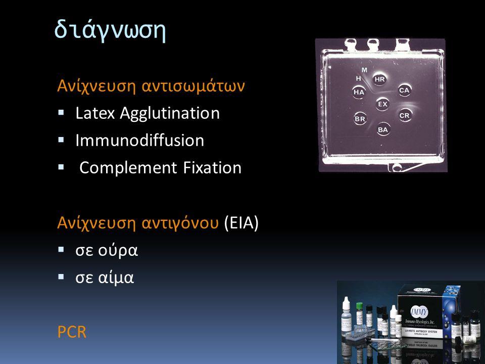 διάγνωση Ανίχνευση αντισωμάτων  Latex Agglutination  Immunodiffusion  Complement Fixation Ανίχνευση αντιγόνου (ΕΙΑ)  σε ούρα  σε αίμα PCR