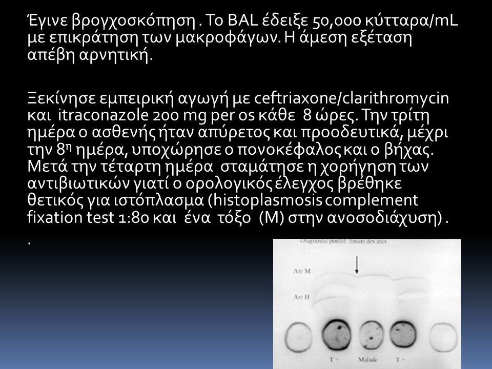 Έγινε βρογχοσκόπηση. Το BAL έδειξε 50,000 κύτταρα/mL με επικράτηση των μακροφάγων. Η άμεση εξέταση απέβη αρνητική. Ξεκίνησε εμπειρική αγωγή με ceftria