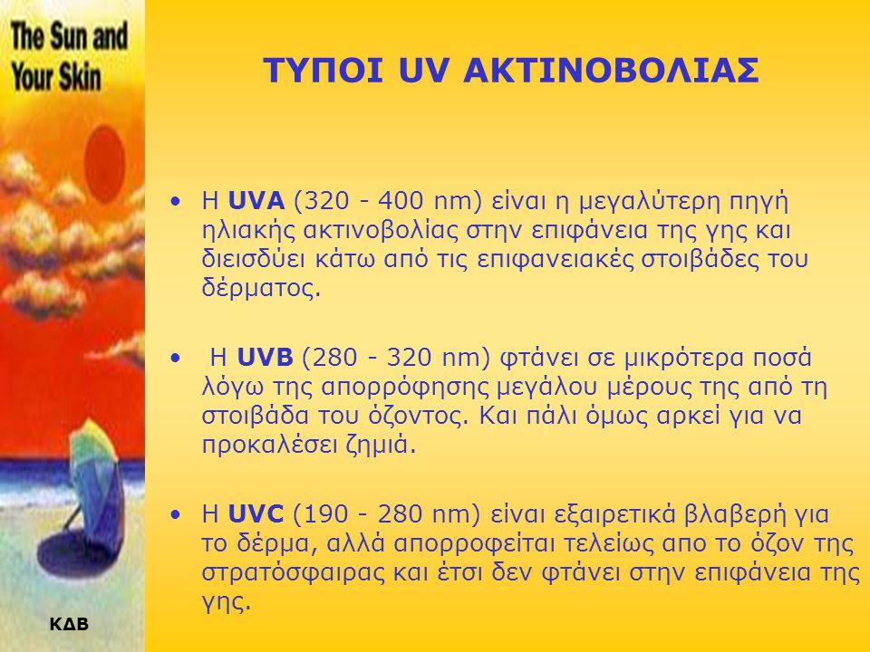 ΚΔΒ ΤΥΠΟΙ UV ΑΚΤΙΝΟΒΟΛΙΑΣ •Η UVA (320 - 400 nm) είναι η μεγαλύτερη πηγή ηλιακής ακτινοβολίας στην επιφάνεια της γης και διεισδύει κάτω από τις επιφανειακές στοιβάδες του δέρματος.