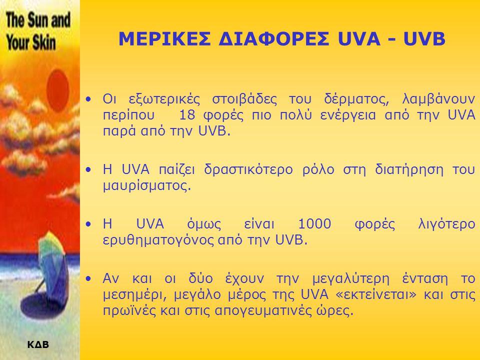 ΚΔΒ ΜΕΡΙΚΕΣ ΔΙΑΦΟΡΕΣ UVA - UVB •Οι εξωτερικές στοιβάδες του δέρματος, λαμβάνουν περίπου 18 φορές πιο πολύ ενέργεια από την UVA παρά από την UVB.