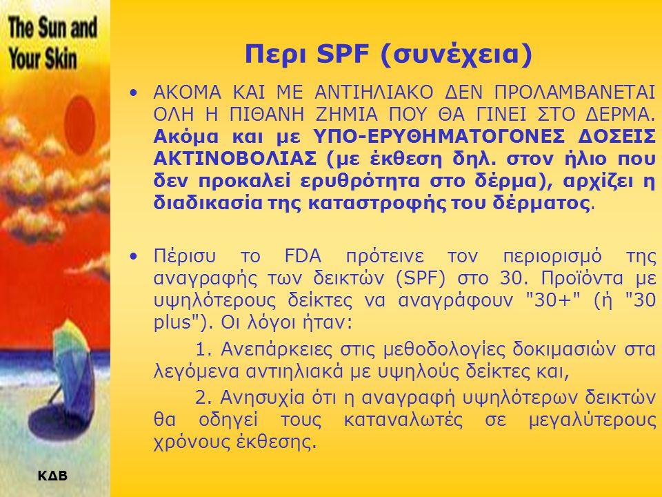 ΚΔΒ SPF : ΠΡΟΣΟΧΗ ! Λόγω της διαφορετικότητας του χρώματος των ατόμων, των προϊόντων, της έκθεσης στον ήλιο και των συνθηκών χρήσης (σύννεφα κλπ), δεν