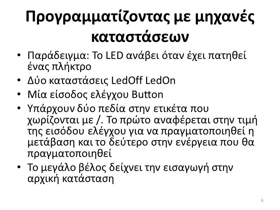 Προγραμματίζοντας με μηχανές καταστάσεων • Παράδειγμα: To LED ανάβει όταν έχει πατηθεί ένας πλήκτρο • Δύο καταστάσεις LedOff LedOn • Μία είσοδος ελέγχου Button • Υπάρχουν δύο πεδία στην ετικέτα που χωρίζονται με /.