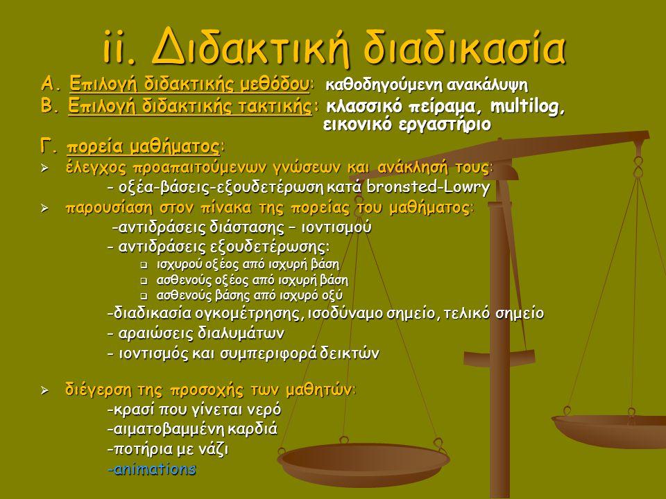 ii. Διδακτική διαδικασία A. Επιλογή διδακτικής μεθόδου: καθοδηγούμενη ανακάλυψη B. Επιλογή διδακτικής τακτικής: κλασσικό πείραμα, multilog, εικονικό ε