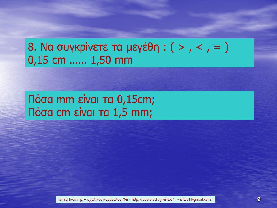 9 8. Να συγκρίνετε τα μεγέθη : ( >, <, = ) 0,15 cm …… 1,50 mm Πόσα mm είναι τα 0,15cm; Πόσα cm είναι τα 1,5 mm; Σιτές Ιωάννης – σχολικός σύμβουλος ΦΕ