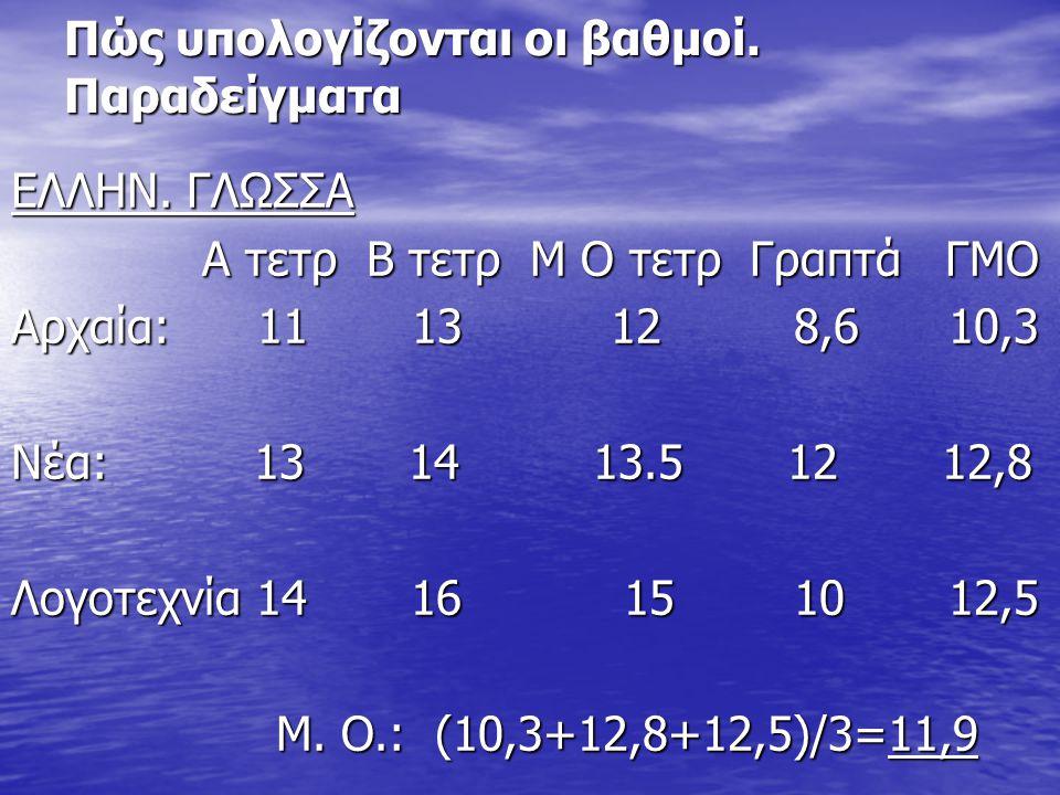 Πώς υπολογίζονται οι βαθμοί. Παραδείγματα ΕΛΛΗΝ. ΓΛΩΣΣΑ Α τετρ Β τετρ Μ Ο τετρ Γραπτά ΓΜΟ Α τετρ Β τετρ Μ Ο τετρ Γραπτά ΓΜΟ Αρχαία: 11 13 12 8,6 10,3