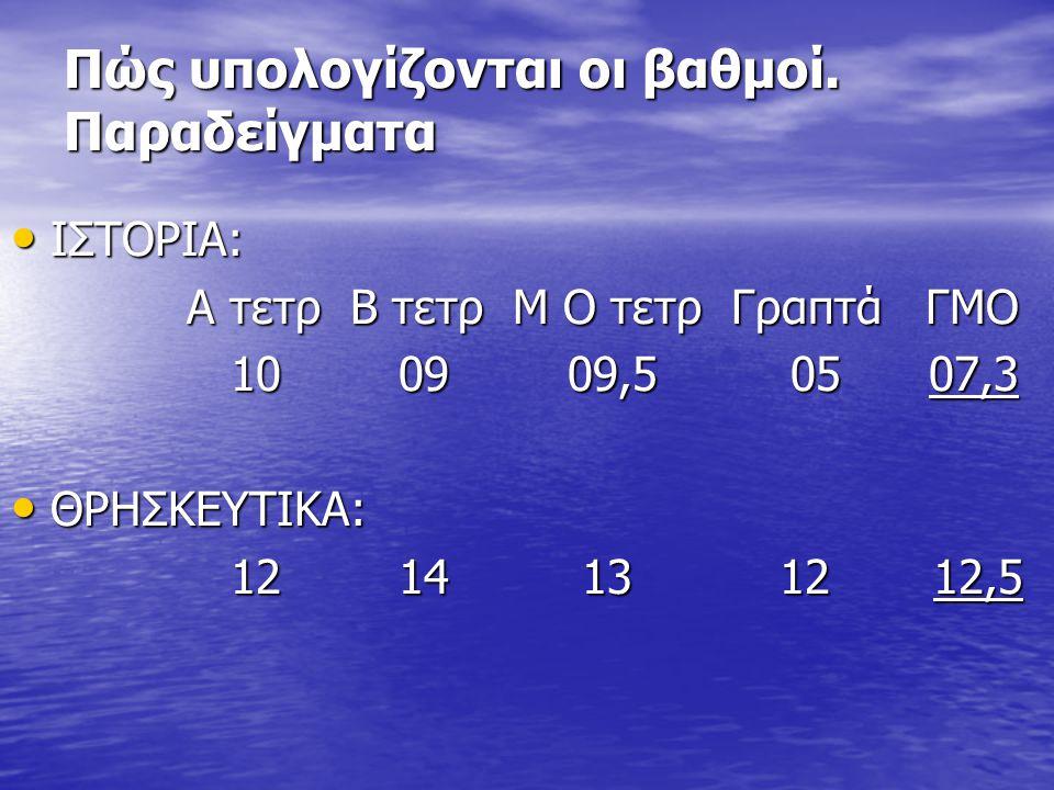 Πώς υπολογίζονται οι βαθμοί. Παραδείγματα • ΙΣΤΟΡΙΑ: Α τετρ Β τετρ Μ Ο τετρ Γραπτά ΓΜΟ Α τετρ Β τετρ Μ Ο τετρ Γραπτά ΓΜΟ 10 09 09,5 05 07,3 10 09 09,5