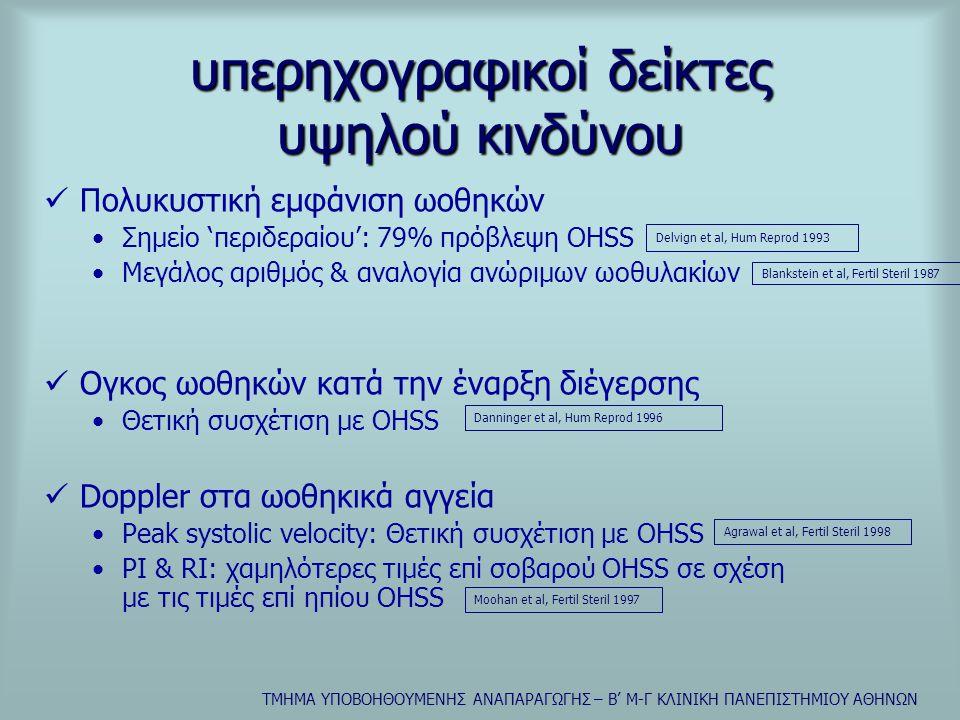 ΤΜΗΜΑ ΥΠΟΒΟΗΘΟΥΜΕΝΗΣ ΑΝΑΠΑΡΑΓΩΓΗΣ – Β' Μ-Γ ΚΛΙΝΙΚΗ ΠΑΝΕΠΙΣΤΗΜΙΟΥ ΑΘΗΝΩΝ υπερηχογραφικοί δείκτες υψηλού κινδύνου  Πολυκυστική εμφάνιση ωοθηκών •Σημείο 'περιδεραίου': 79% πρόβλεψη OHSS •Μεγάλος αριθμός & αναλογία ανώριμων ωοθυλακίων  Ογκος ωοθηκών κατά την έναρξη διέγερσης •Θετική συσχέτιση με OHSS  Doppler στα ωοθηκικά αγγεία •Peak systolic velocity: Θετική συσχέτιση με ΟΗSS •PI & RI: χαμηλότερες τιμές επί σοβαρού OHSS σε σχέση με τις τιμές επί ηπίου OHSS Delvign et al, Hum Reprod 1993 Blankstein et al, Fertil Steril 1987 Danninger et al, Hum Reprod 1996 Agrawal et al, Fertil Steril 1998 Moohan et al, Fertil Steril 1997