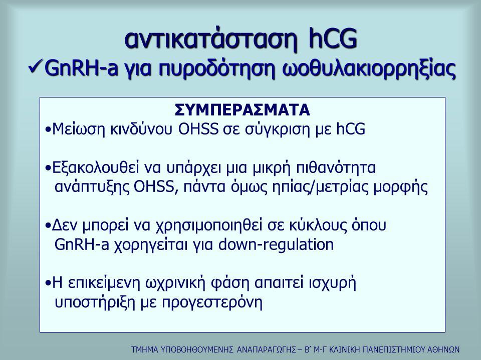 ΤΜΗΜΑ ΥΠΟΒΟΗΘΟΥΜΕΝΗΣ ΑΝΑΠΑΡΑΓΩΓΗΣ – Β' Μ-Γ ΚΛΙΝΙΚΗ ΠΑΝΕΠΙΣΤΗΜΙΟΥ ΑΘΗΝΩΝ αντικατάσταση hCG  GnRH-a για πυροδότηση ωοθυλακιορρηξίας ΣΥΜΠΕΡΑΣΜΑΤΑ •Μείωση κινδύνου OHSS σε σύγκριση με hCG •Εξακολουθεί να υπάρχει μια μικρή πιθανότητα ανάπτυξης OHSS, πάντα όμως ηπίας/μετρίας μορφής •Δεν μπορεί να χρησιμοποιηθεί σε κύκλους όπου GnRH-a χορηγείται για down-regulation •Η επικείμενη ωχρινική φάση απαιτεί ισχυρή υποστήριξη με προγεστερόνη