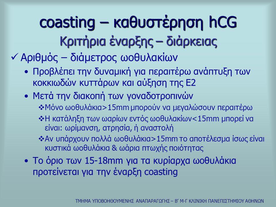 ΤΜΗΜΑ ΥΠΟΒΟΗΘΟΥΜΕΝΗΣ ΑΝΑΠΑΡΑΓΩΓΗΣ – Β' Μ-Γ ΚΛΙΝΙΚΗ ΠΑΝΕΠΙΣΤΗΜΙΟΥ ΑΘΗΝΩΝ coasting – καθυστέρηση hCG Κριτήρια έναρξης – διάρκειας  Αριθμός – διάμετρος ωοθυλακίων •Προβλέπει την δυναμική για περαιτέρω ανάπτυξη των κοκκιωδών κυττάρων και αύξηση της E2 •Μετά την διακοπή των γοναδοτροπινών  Μόνο ωοθυλάκια>15mm μπορούν να μεγαλώσουν περαιτέρω  Η κατάληξη των ωαρίων εντός ωοθυλακίων<15mm μπορεί να είναι: ωρίμανση, ατρησία, ή αναστολή  Αν υπάρχουν πολλά ωοθυλάκια>15mm το αποτέλεσμα ίσως είναι κυστικά ωοθυλάκια & ωάρια πτωχής ποιότητας •Το όριο των 15-18mm για τα κυρίαρχα ωοθυλάκια προτείνεται για την έναρξη coasting