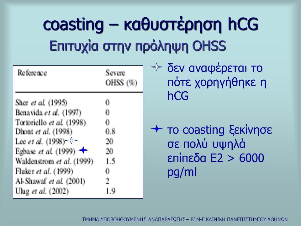 ΤΜΗΜΑ ΥΠΟΒΟΗΘΟΥΜΕΝΗΣ ΑΝΑΠΑΡΑΓΩΓΗΣ – Β' Μ-Γ ΚΛΙΝΙΚΗ ΠΑΝΕΠΙΣΤΗΜΙΟΥ ΑΘΗΝΩΝ coasting – καθυστέρηση hCG δεν αναφέρεται το πότε χορηγήθηκε η hCG το coasting ξεκίνησε σε πολύ υψηλά επίπεδα Ε2 > 6000 pg/ml Επιτυχία στην πρόληψη OHSS