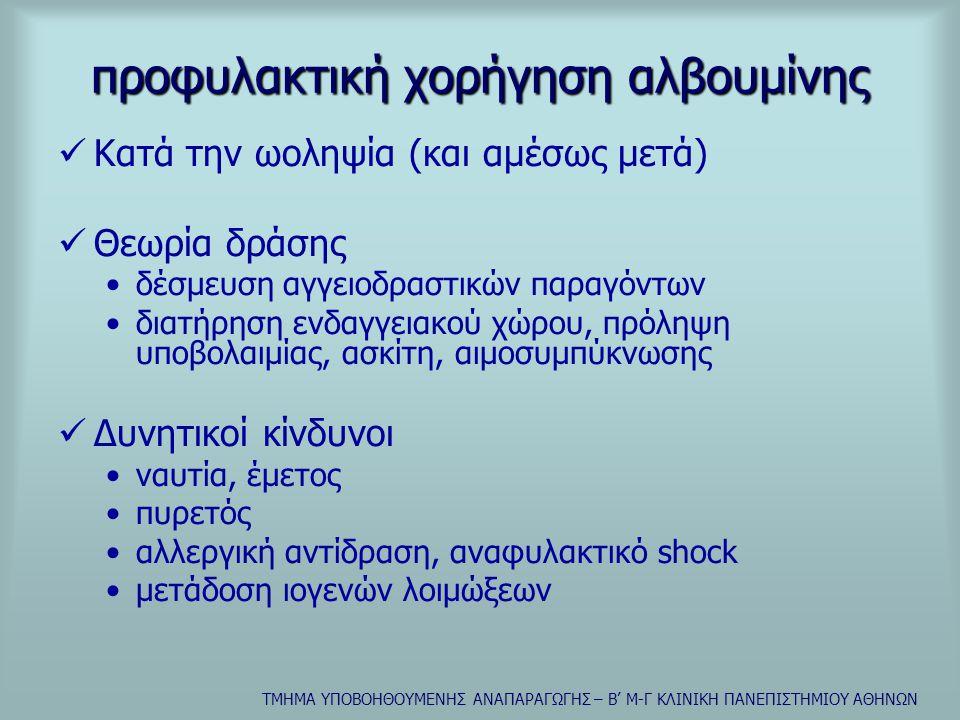 ΤΜΗΜΑ ΥΠΟΒΟΗΘΟΥΜΕΝΗΣ ΑΝΑΠΑΡΑΓΩΓΗΣ – Β' Μ-Γ ΚΛΙΝΙΚΗ ΠΑΝΕΠΙΣΤΗΜΙΟΥ ΑΘΗΝΩΝ προφυλακτική χορήγηση αλβουμίνης  Κατά την ωοληψία (και αμέσως μετά)  Θεωρία δράσης •δέσμευση αγγειοδραστικών παραγόντων •διατήρηση ενδαγγειακού χώρου, πρόληψη υποβολαιμίας, ασκίτη, αιμοσυμπύκνωσης  Δυνητικοί κίνδυνοι •ναυτία, έμετος •πυρετός •αλλεργική αντίδραση, αναφυλακτικό shock •μετάδοση ιογενών λοιμώξεων