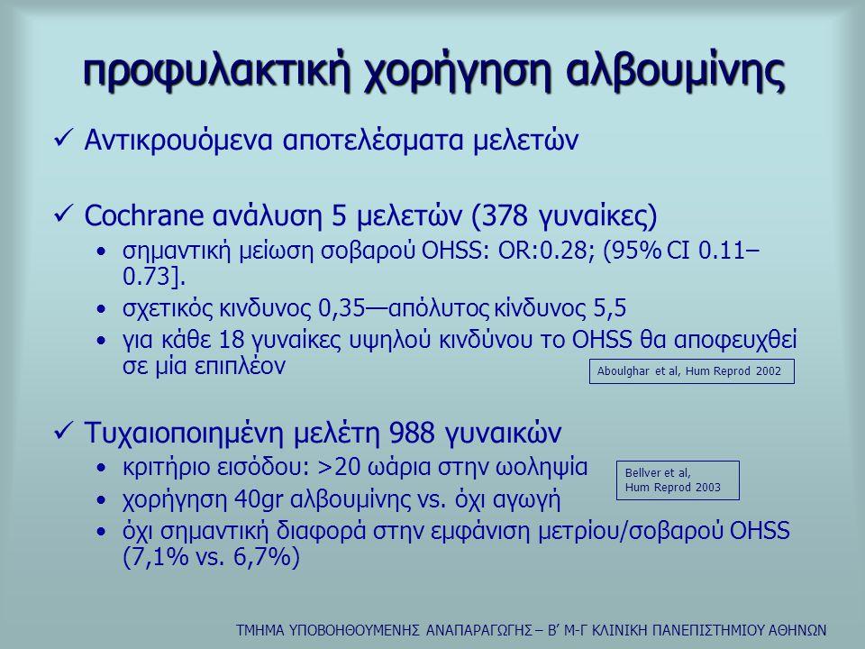ΤΜΗΜΑ ΥΠΟΒΟΗΘΟΥΜΕΝΗΣ ΑΝΑΠΑΡΑΓΩΓΗΣ – Β' Μ-Γ ΚΛΙΝΙΚΗ ΠΑΝΕΠΙΣΤΗΜΙΟΥ ΑΘΗΝΩΝ προφυλακτική χορήγηση αλβουμίνης  Αντικρουόμενα αποτελέσματα μελετών  Cochrane ανάλυση 5 μελετών (378 γυναίκες) •σημαντική μείωση σοβαρού OHSS: OR:0.28; (95% CI 0.11– 0.73].