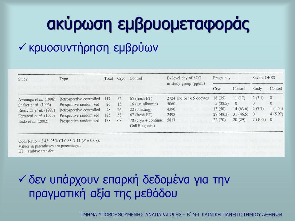ΤΜΗΜΑ ΥΠΟΒΟΗΘΟΥΜΕΝΗΣ ΑΝΑΠΑΡΑΓΩΓΗΣ – Β' Μ-Γ ΚΛΙΝΙΚΗ ΠΑΝΕΠΙΣΤΗΜΙΟΥ ΑΘΗΝΩΝ ακύρωση εμβρυομεταφοράς  κρυοσυντήρηση εμβρύων  δεν υπάρχουν επαρκή δεδομένα για την πραγματική αξία της μεθόδου