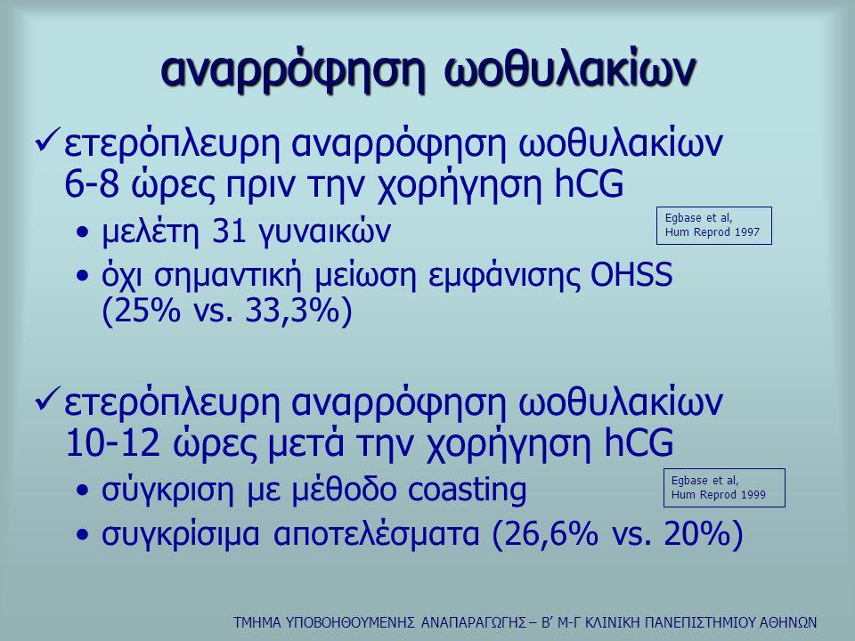 ΤΜΗΜΑ ΥΠΟΒΟΗΘΟΥΜΕΝΗΣ ΑΝΑΠΑΡΑΓΩΓΗΣ – Β' Μ-Γ ΚΛΙΝΙΚΗ ΠΑΝΕΠΙΣΤΗΜΙΟΥ ΑΘΗΝΩΝ αναρρόφηση ωοθυλακίων  ετερόπλευρη αναρρόφηση ωοθυλακίων 6-8 ώρες πριν την χορήγηση hCG •μελέτη 31 γυναικών •όχι σημαντική μείωση εμφάνισης OHSS (25% vs.