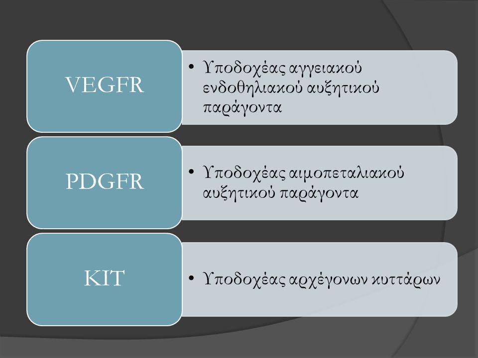 •Υποδοχέας αγγειακού ενδοθηλιακού αυξητικού παράγοντα VEGFR •Υποδοχέας αιμοπεταλιακού αυξητικού παράγοντα PDGFR •Υποδοχέας αρχέγονων κυττάρων KIT
