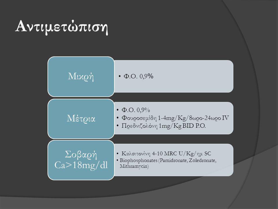 Αντιμετώπιση •Φ.Ο. 0,9 % Μικρή •Φ.Ο. 0,9% •Φουροσεμίδη 1-4mg/Kg/8ωρο-24ωρο IV •Πρεδνιζολόνη 1mg/Kg BID P.O. Μέτρια •Kαλσιτονίνη 4-10 MRC U/Kg/ημ SC •B