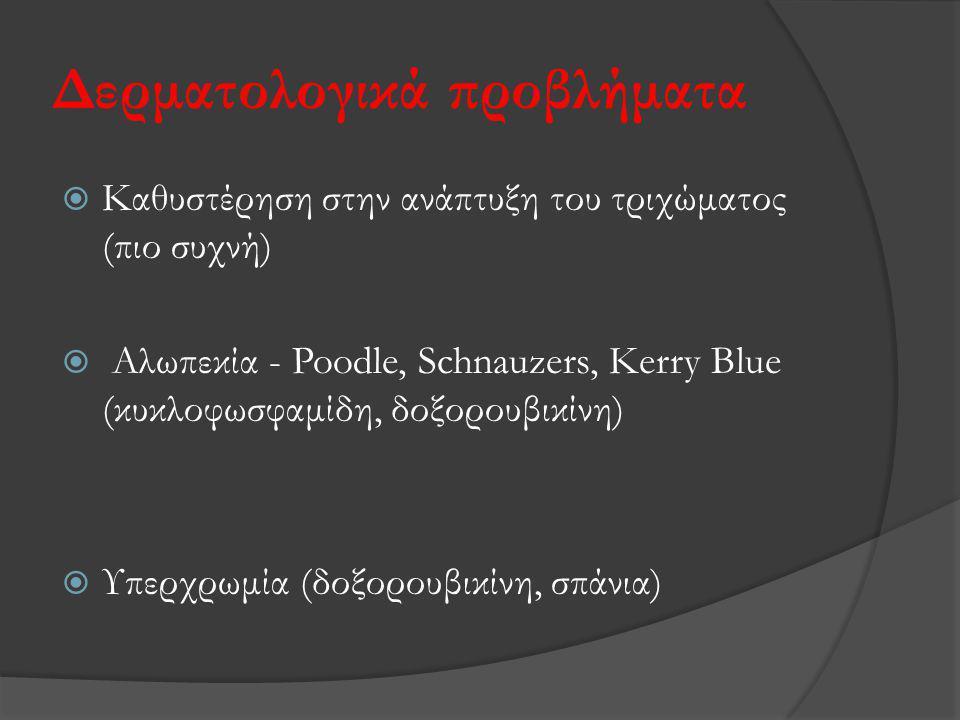 Δερματολογικά προβλήματα  Καθυστέρηση στην ανάπτυξη του τριχώματος (πιο συχνή)  Αλωπεκία - Poodle, Schnauzers, Κerry Blue (κυκλοφωσφαμίδη, δοξορουβι